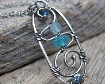 Sebastian (Twelfth Night) ... artisan metalwork sterling silver with aquamarine, angelite, and topaz