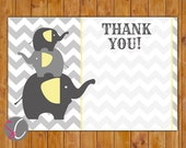 """Chevron Elephant Baby Shower Thank You Flat Card Gender Neutral Grey Yellow Stacked Elephants 4""""x6"""" Digital Instant Download (76-ty)"""