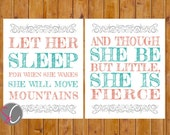 Instant Download Let Her Sleep For When She Wakes And Though She Be But Little, She is Fierce Nursery Wall Art Coral Teal 2- 8x10 JPG (122)