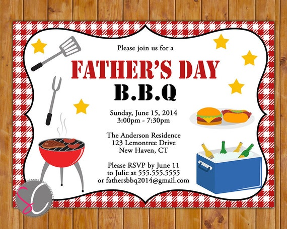 Father's Day Backyard BBQ Invite Cookout Picnic Party