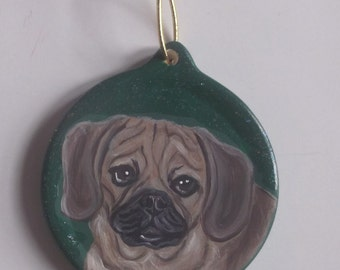 Puggle Dog Custom Hand Painted Christmas Ornament Decoration