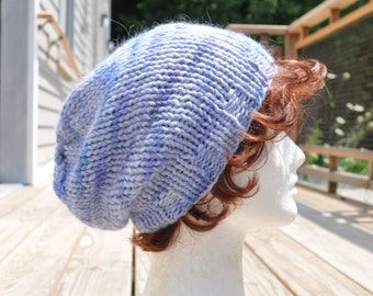Wool Knit Slouchy Hat - Multi-Colored Lavender Knit Hat - Unisex Hat in Baby Alpaca