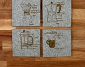 Coffee makers industrial felt coasters, french press, gifts for men, gifts under 20, girls can tell, pour over coffee, fathers day gift
