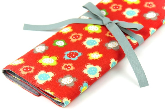 Knitting Needle Case   - Zippee - Large Organizer 30 Gray Pockets for straights, circular, double pointed or paint brushes