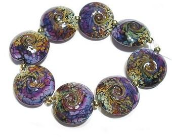 Handmade Glass Lampwork  Beads,   Raku and  Purple Rose  Lentils,