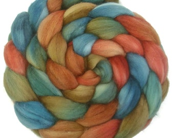 Handpainted Superwash BFL Wool Nylon 80/20 Sock Roving - 4 oz. EARTHEN HUES - Spinning Fiber