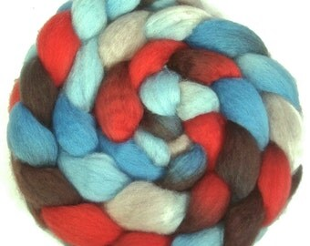 Handpainted BFL Wool Roving - 4 oz. AMERICAN DINER - Spinning Fiber