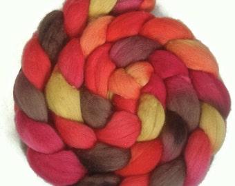 Handpainted Superfine Merino Wool Roving - 4 oz. SUNSET - Spinning Fiber