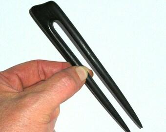 Scroll Top Hair Fork  (Ebonised Walnut )