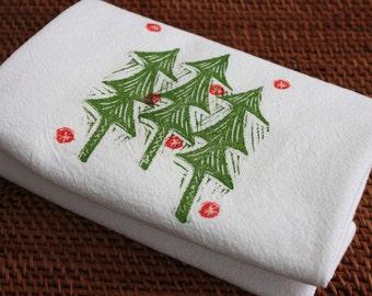 Christmas Tree Towel - Holiday Tea Towel - Soft Cotton Flour Sack Towel - Hand Block Printed