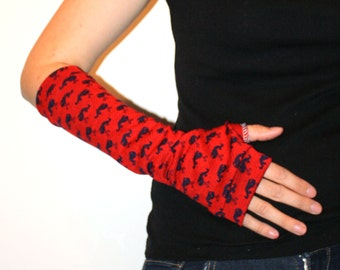 Red and Navy Blue All Over Whale Print Arm Warmers