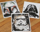 Set of 3 Storm Trooper Vader Boba Fett Star Wars Illustration Prints 8x10 on Archival Paper