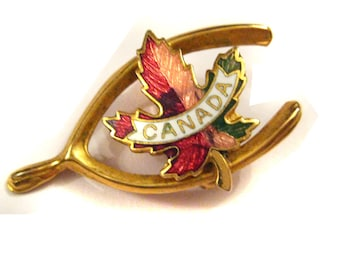 Vintage 1970 Canada Lucky Wishbone Enamel Brooch from Hoolala Vintage