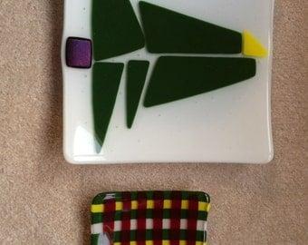 Christmas tree dish, modern, fused glass, iridescent tree trunk
