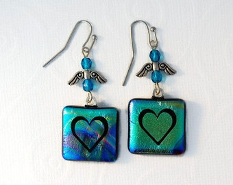 Etched Dichoric Earrings, Fused Glass Earrings, Etched Heart, Heart Dangle Earrings