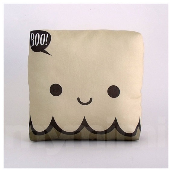 Halloween Ghost Pillow, Decorative Pillow, Mini Pillow, Childrens Pillow, Ghost Decor, Halloween Decoration, 7 x 7""