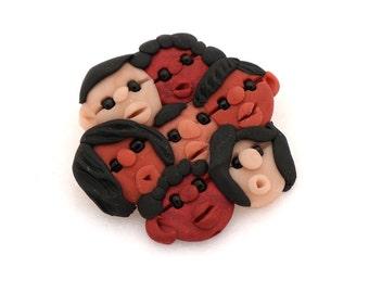 Handmade Polymer Clay Brooch - Children of the World - Multicultural Teacher Appreciation Jewelry
