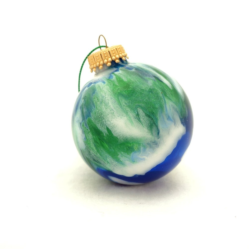 "Handmade Glass Earth Christmas Ball Ornament Painted Inside - OOAK Round Bulb 2 1/2"" Home Decor"