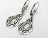 Art Nouveau Earrings Horse Shoe Earrings Lucky Charm Earrings Antiqued Silver Plated Earrings Wedding Jewelry Hawaiibeads