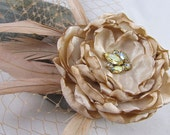 Blush Champagne Floral Bridal Hair Fascinator - Vintage Floral Fascinator