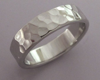 Hammered Palladium 950 Wedding Ring with Polished or Matte Finish, Choose a Custom Width