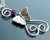 Butterfly necklace Purple Amethyst Sterling Silver vines tendrils 3D wings dancing Spring pendant