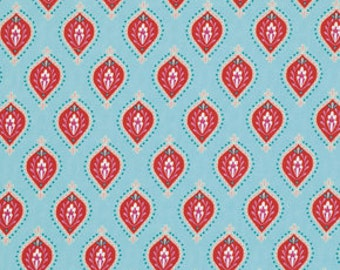 Little Azalea by Dena Designs Fabric / Peony in Aqua/ Yard Cotton Quilt Fashion Fabric