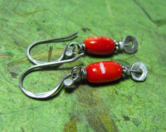 Spirit - Bamboo Coral and Sterling Silver Earrings