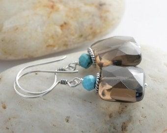 Sterling Silver Smoky Quartz and Sleeping Beauty Turquoise Dangle Drop Earrings // luluglitterbug