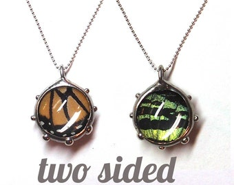 Real Butterfly Wings Bubble Necklace - Two sided - Monarch and Sunset Moth