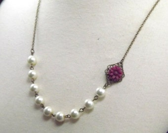 Burgundy and Ivory Brass Wedding Flower Necklace
