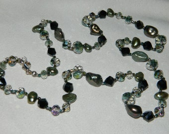 Pearls and Crystals Knotted on Silk Cord Long Necklace