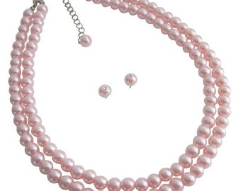 Adorable Double Stranded Pink Pearl Necklace With Stud Earrings Wedding Gift Free Shipping In USA