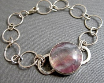 Fluorite Bracelet in Sterling Silver - Hand Fabricated Link Pink Gemstone Bezel Set