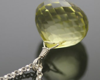 Lemon Citrine Drop on a Sterling Silver Chain Necklace f13n027