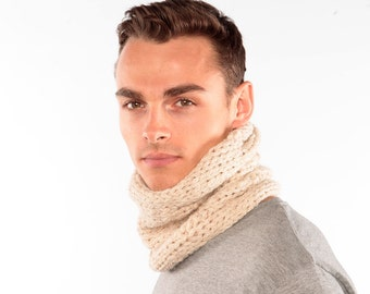 Cream snood, Alpaca Scarf, Cream Alpaca Cowl, Winter scarf, Handknitted Snood in Alpaca Wool, Wool scarf Chunky Knit Cowl, infinity scarf