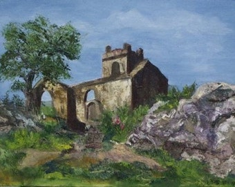 Ruins of Ireland 8x10 Canvas Giclee Print of Original Oil Painting by Kathleen Farmer Denver Artist