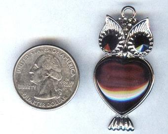 "Bright Silver Fabulous Owl Pendant Black Stone Inset 1 3/4"" x1"""