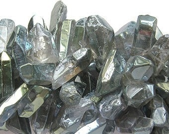 "Electroplated Veridian Green Natural Crystal Quartz Freeform Stick Beads 7.5"" AAA quality"
