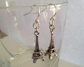 Paris Dream - Eiffel Tower Silverplated Earrings, Paris Lover Earrings, Eiffel Tower Earrings, Dangle Earrings, BFF Gift, Birthday Gift