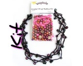 Crochet necklace kit, beads thread instructions, choose your colour, uk seller, jewelry kit, make it yourself thread necklace, DIY craft kit