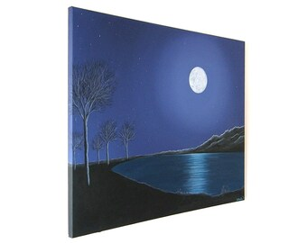 Moonlit Lake acrylic painting  - original landscape night scene of water under a full moon, with tree and mountain silhouette (UK only)