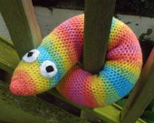 Giant Wormie toy for babies, toddlers and older children, crocheted, rainbow coloured, stuffed toy