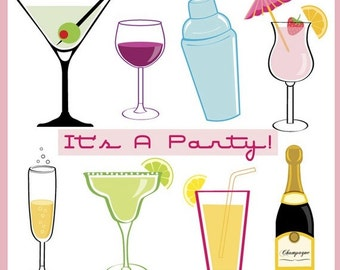 60% off Party Drink Cocktails clipart for new year, parties, champagne bottle, margarita, wine, Instant Download