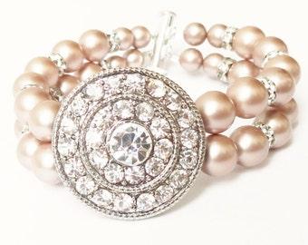 Champagne Pearl Bracelet, Silver Art Deco Style Wedding Jewelry, Vintage Style Champagne Pearl Bridal Bracelet Cuff, GODIVA