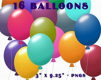 Balloons Clip Art Pack, 16 PNG Balloon Graphics, Digital Scrapbooking, Digital Download, Balloon Clipart, Cute Clipart, Party Balloons, Art