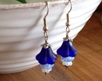 Blue Ombre Glass Flower Earrings