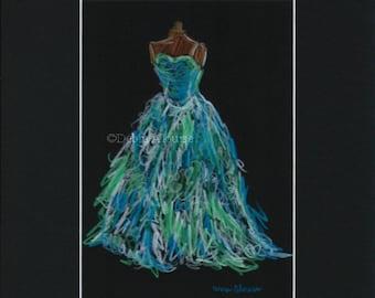 Dress Fashion Art Original Illustration Drawing by Artist Debra Alouise