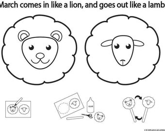 Popular Items For Activity Sheets On Etsy Lamb And Lion Coloring Page