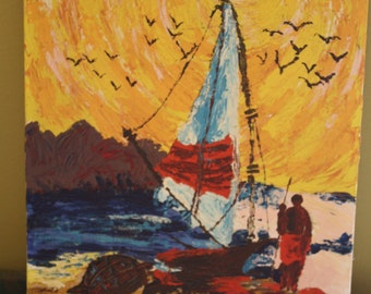 Original Oil Painting. Sailboat at Sunset. Palette Knife... Amazing texture. Signed.
